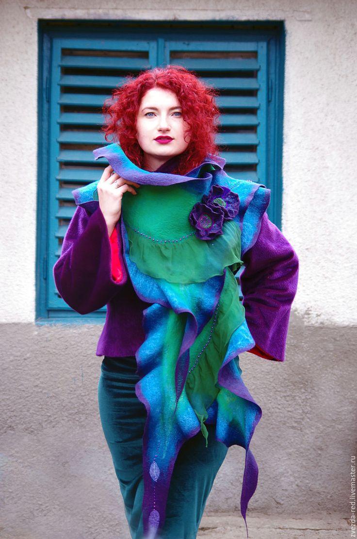 """Купить Палантин"""" Закат у моря"""" - купить валяный палантин, купить валяный шарф, валяный палантин"""