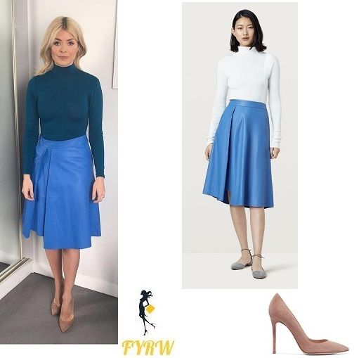 Holly Willoughby This Morning outfit blue polo neck blue leather skirt nude court shoes March 2018 #ad #affiliatelink
