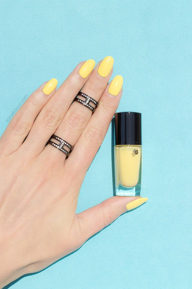 Yellow Nails With Ocean Waves Plus Lancome Nail Polish Review Designs