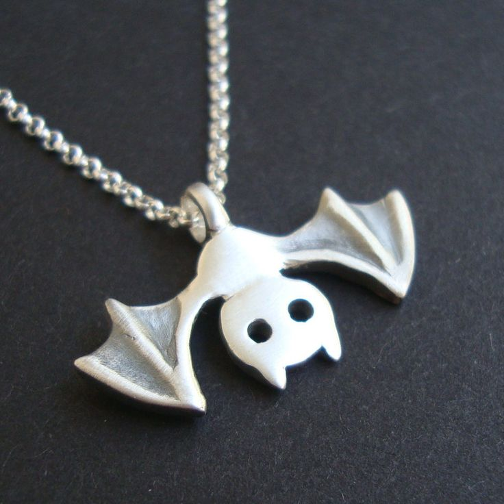 Bat Necklace Halloween Necklace in sterling silver by zoozjewelry, $36.00