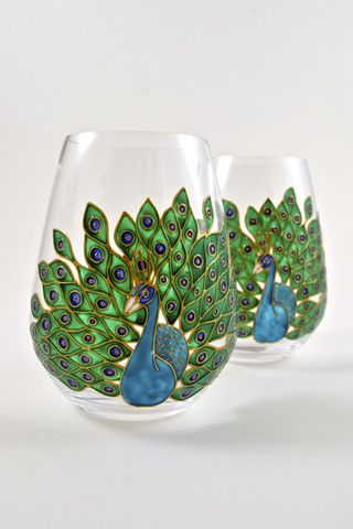 Toasted Glass - Peacock Stemless Wine Glasses