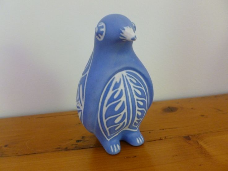 Vintage Pablo Zabal Penguin Figurine, Chilean Folk Art, Sgrafito Blue and White Bird, Ceramic Bird, Home Decor, Chilean Pottery by MuskRoseVintage on Etsy