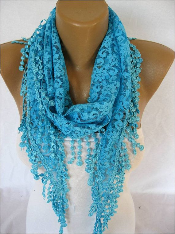 BIG SALE OFF Lace scarf ,women scarves - guipure -  fashion scarf - gift scarves / 2013 season-turquoise blue via Etsy