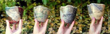 """Керамические чаши для чая. Серия """"Деревья и травы"""" - Керамика,авторская керамика"""