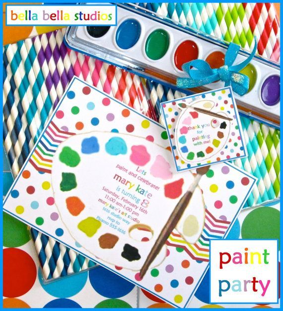 Personalized Printable Download Paint Party 5x7 Invite and Party Decorations