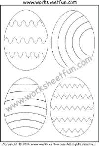 Easter Worksheets – Easter Eggs -Tracing & Coloring – One Worksheet