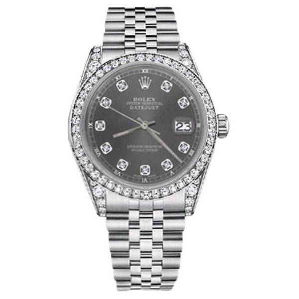 Pre-owned Rolex Datejust Stainless Steel with Dark Gray Diamonds Dial... ($5,499) ❤ liked on Polyvore featuring jewelry, watches, rolex watches, unisex watches, pre owned watches, diamond jewellery and rolex wrist watch