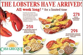 """GroupVaudreuil:  Restaurant Casa Grecque Vaudreuil  The largest chain of """"bring your own wine"""" restaurants in Quebec!  New event for a limited time: The Lobsters Have Arrived! - All Week Long -      http://www.groupvaudreuil.com/restaurants/restaurant-casa-grecque-vaudreuil"""