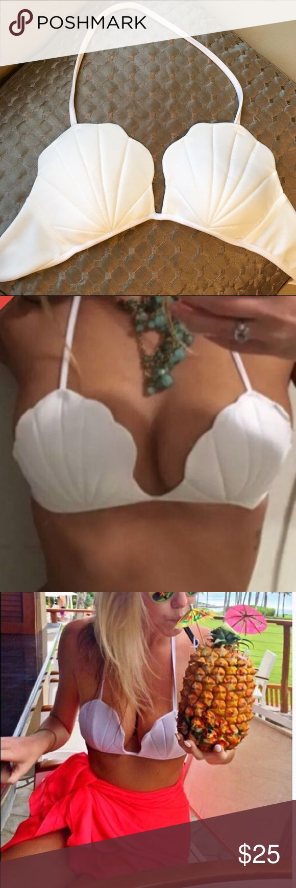 Mermaid Bikini Shell Top So cute!! White Seashell bikini top perfect for a beachy mermaid look! Does not have an underwire, ties in the back and halter around the neck, would recommend for smaller bust sizes. Very similar to the Wildfox and Acacia tops at a fraction of the price!!  Swim Bikinis