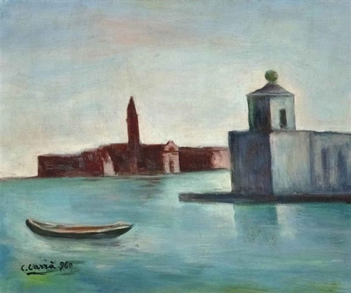 Carlo Carrà (Italian, 1881-1966), Veduta veneziana, 1960. Oil on canvas, 40 x 50cm.