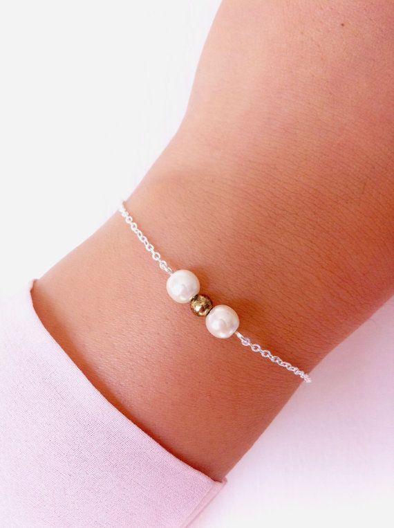 Pearl bracelet in silver chain. Dainty bracelet for her. Bridal bracelet. Bridesmaids bracelet.. via Etsy.