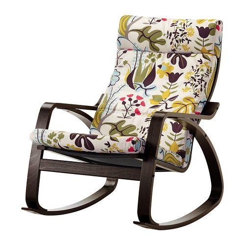 POÄNG Sedia a dondolo - Blomstermåla fantasia, marrone-nero - IKEA