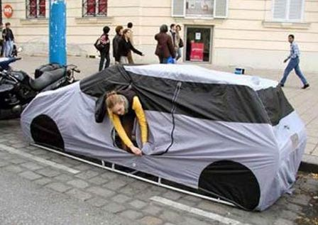 The Car Tent: a tent designed to look like a car cover, so you can go camping in the city without being disturbed.