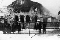 December 24, 1939, A synagogue going up in flames in Siedlce, Poland