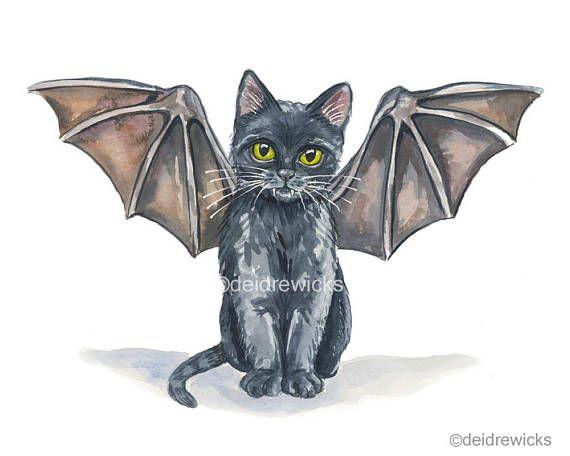 Black Cat Watercolour Painting Fine Art Kitten With Bat Etsy Watercolor Cat Kitten Art Cat Illustration