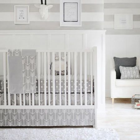 Gray Arrow Baby Bedding | Wanderlust in Gray Crib Collection