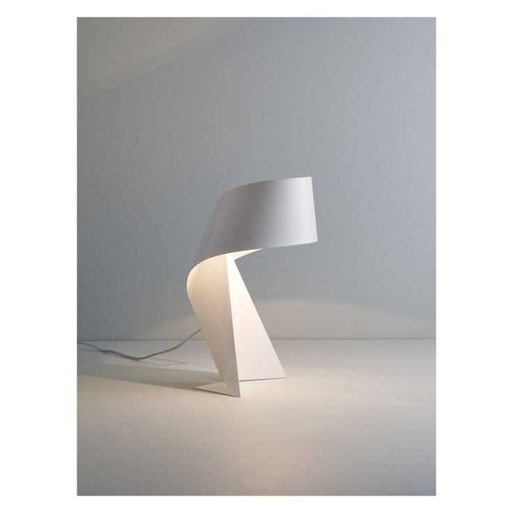 RIBBON White small metal table lamp