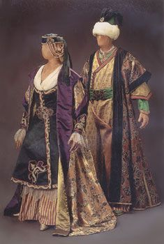 "Costume for Asteria and Andronico, Act II, Handel's opera, ""Tamerlano"", 1995 Glimmerglass production, designed by theatrical designer, Judy Levin. ""Inspired by"", NOT period clothing."