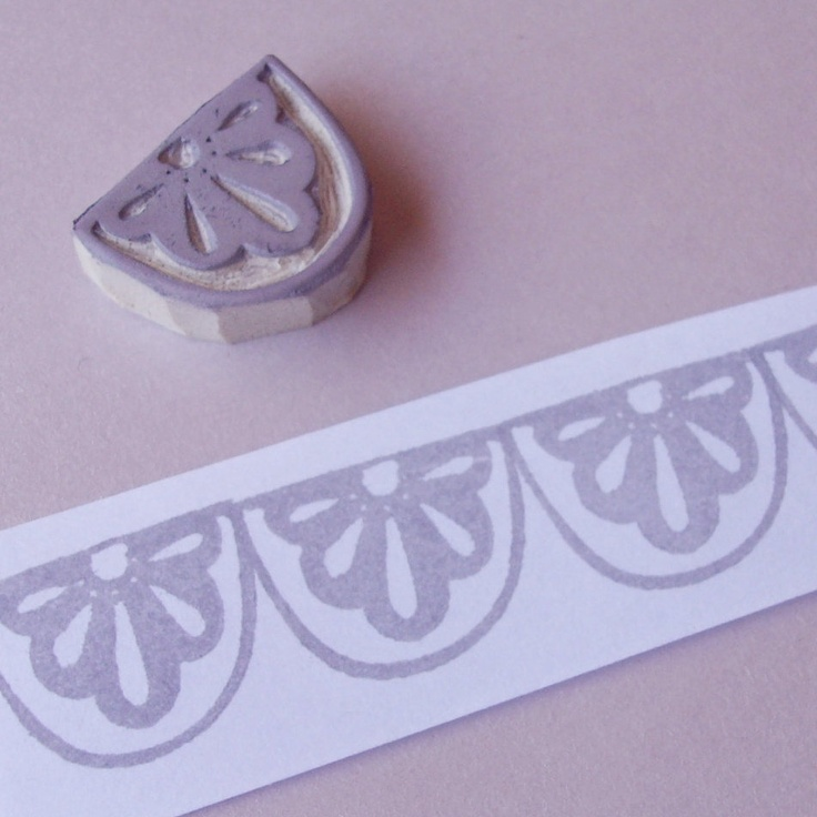 Lace Scallop Border - Hand Carved Rubber Stamp. $8.00, via Etsy.