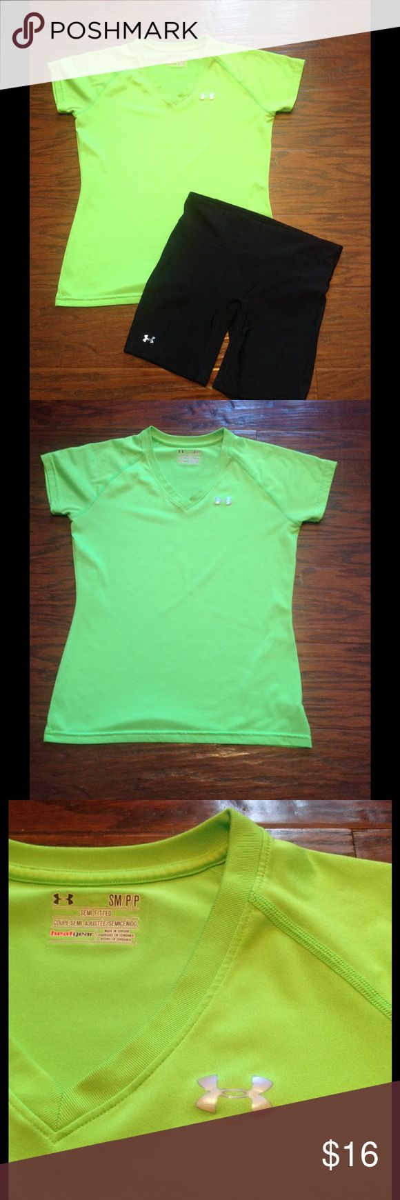 Under Armour Dri-fit lime green shirt. Size S. Under Armour Dri-fit lime green shirt. Size S. Has some fuzzy spots on it which I tried to show in picture 4 but in overall good condition. Under Armour Tops Tees - Short Sleeve