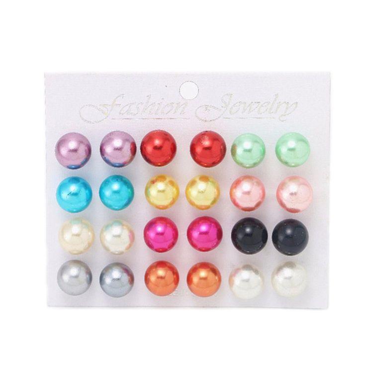 Ocean 12 Pairs Lot Pearl Earrings Fashion Mix Color Ball Stud Earring Set Piercing Pendant for Women Ladies 2016 Cheap Earrings