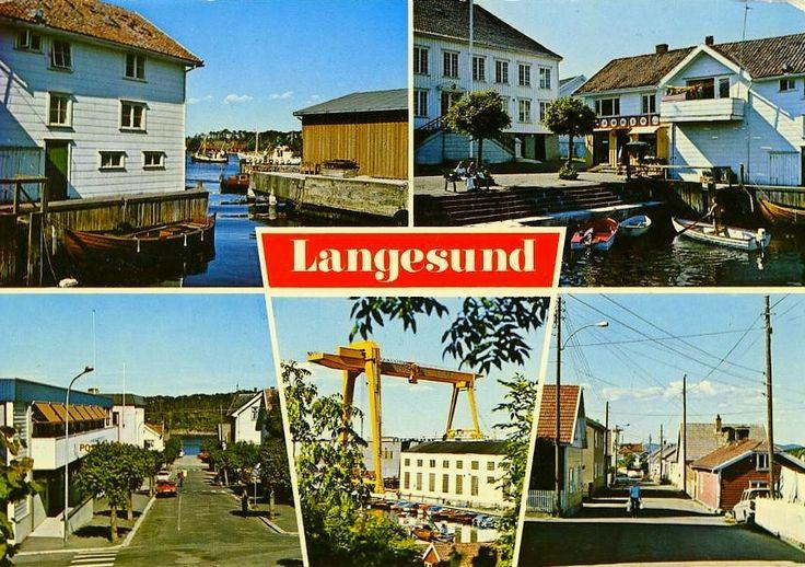 Telemark fylke Bamble kommune Langesund 4-bilders kort