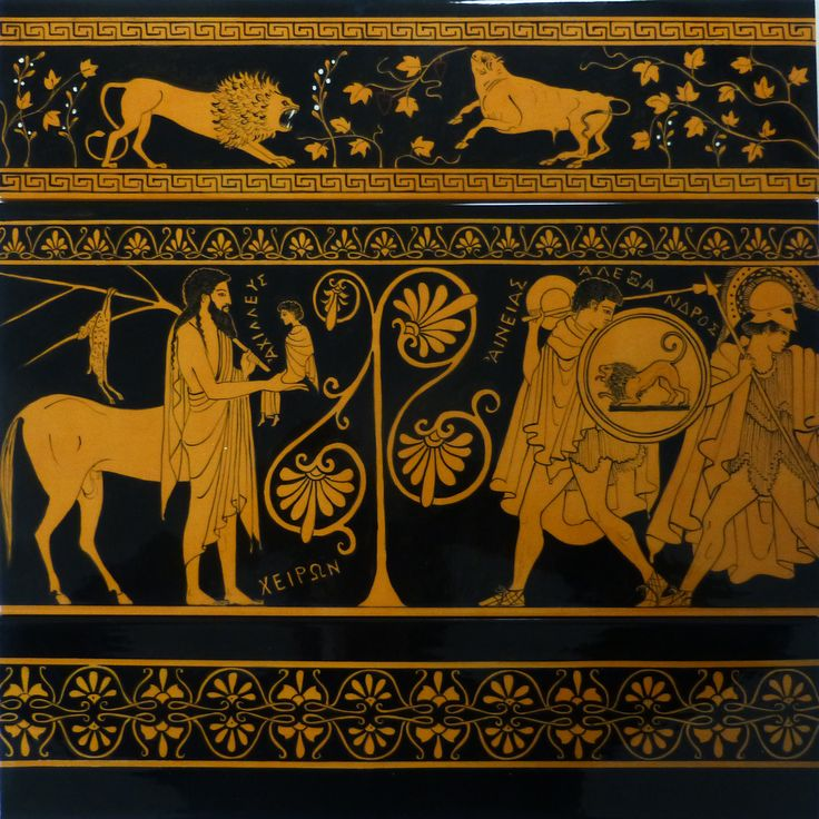 Made on order, handpainted and glazed ceramic composition of three tiles, 2nd element of a wall frieze 189 inches (480 cm) long and 15.7 inches (40 cm) high. #terracotta #ceramic #greekpottery #greekpatterns #iliad #redfigures #myth #mythology  #Paris #Aeneas #centaur #Chirone #Achille #palmette #lion #bull    #greekdecoration  #warrior #war #weapons #shelts #swards #helmets #spears  #MITOlibert