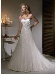 Satin/Lace/Organza Strapless Dipped Neckline A-line Wedding Dress