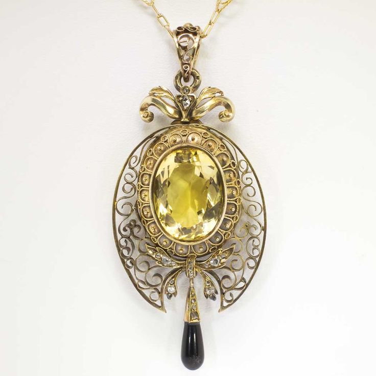 45 best vintage diamond necklaces antique pendants images on circa 1875 rose cut diamond onyx citrine filigree pendant locket necklace w chain mozeypictures Image collections