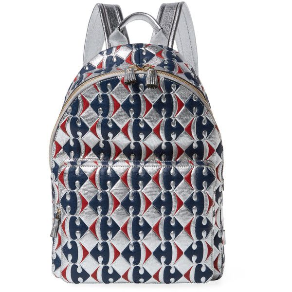 Anya Hindmarch Women's Carrefour Metallic Leather Backpack ($899) ❤ liked on Polyvore featuring bags, backpacks, multi, zip top bag, anya hindmarch, strap backpack, leather bags and genuine leather backpack
