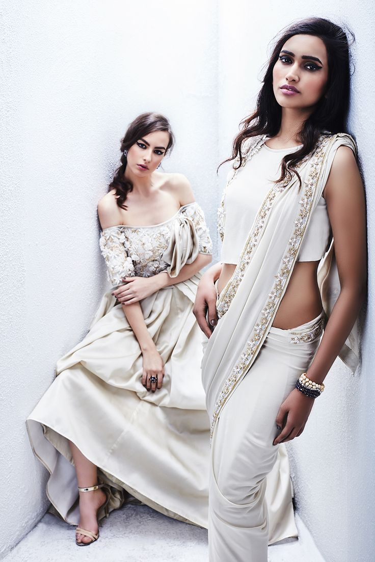 Off shoulder gown (L) Georgette saree (R)