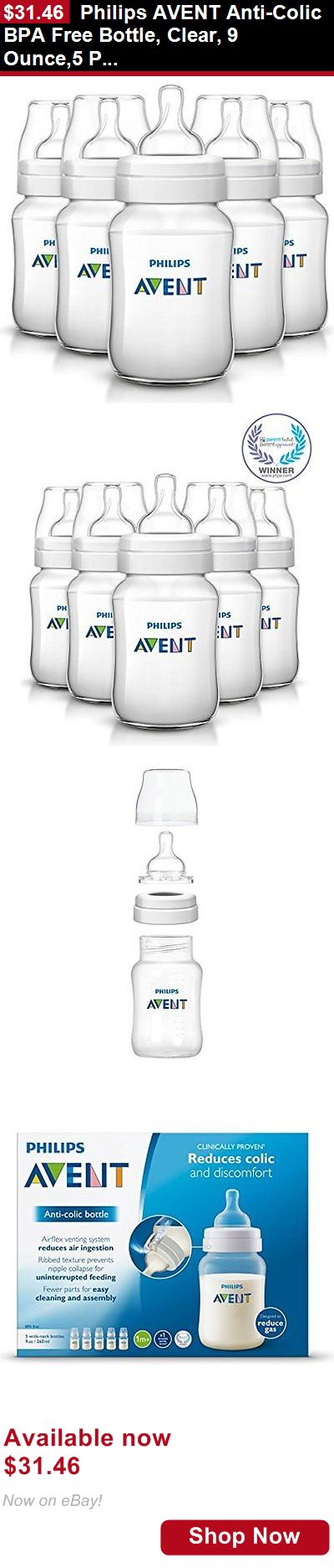 Baby Bottles: Philips Avent Anti-Colic Bpa Free Bottle, Clear, 9 Ounce,5 Piece BUY IT NOW ONLY: $31.46