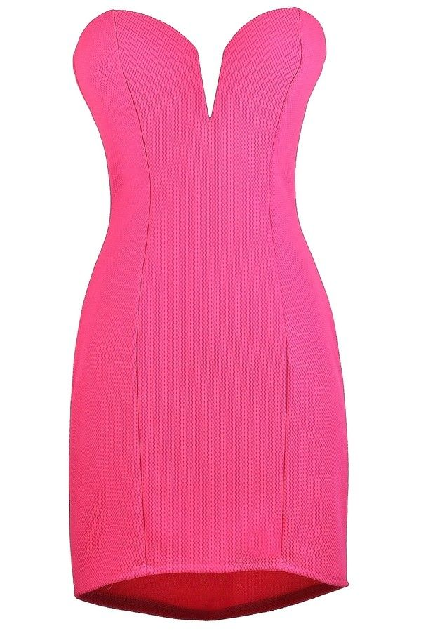 Lily Boutique Listen To Your Heart Strapless Textured Dress in Hot Pink, $15.9500 Hot Pink Lily Boutique Dress, Cute Pink Lily Boutique Dress, Bright Pink Party Dress www.lilyboutique.com