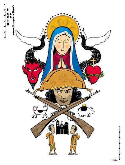 Auto da compadecida, xilo, xilogravura, literatura, suassuna, ariano, filme brasil, brasilidade, brazil, chicó, diabo, santa, porca, cachorro, igreja, lampeão, sertão, nordeste, joão grilo