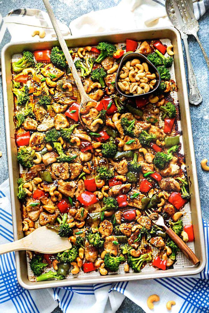 Sheet Pan Cashew Chicken is an all in one meal with the amazing flavors of the popular takeout dish. Tender chicken surrounded by crisp and tender veggies with crunchy cashews and an incredible sweet and savory sauce. Hey everybody! It's Kelly from Life Made Sweeter back again with another easy weeknight meal! Sheet pan meals …