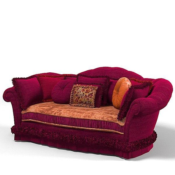 Provasi Lucy Wine 3d Model   PROVASI LUCY WINE Big Classic Velvet  Upholsered Sofa(