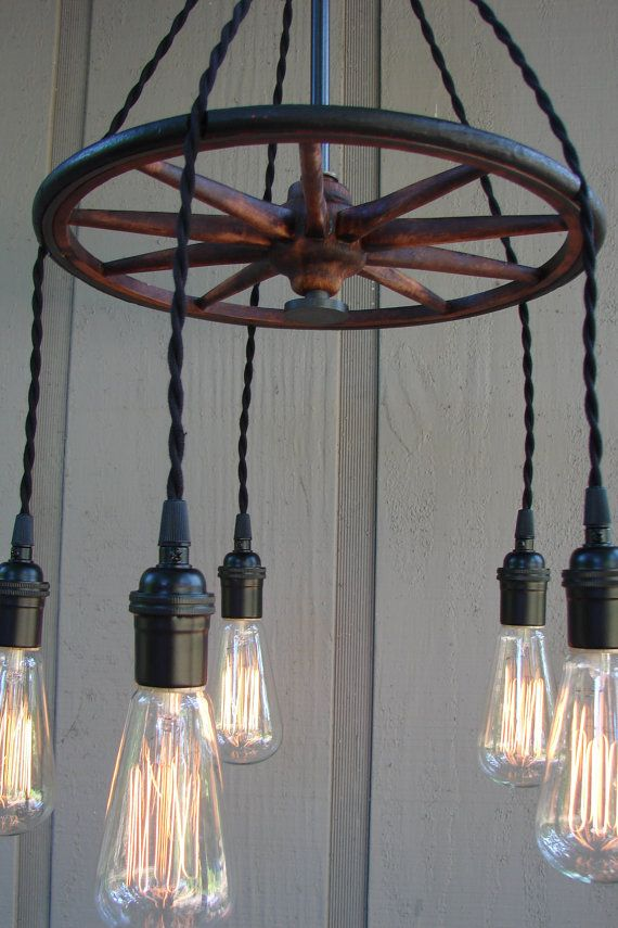 upcycled antique buggy wheel 5 light filament bulb