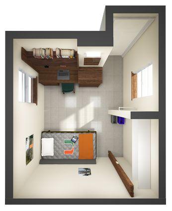 single dorm room layout - Google Search