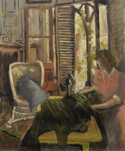 Freida Lock (South African painter) 1902 - 1962 At Work at Westoe, 1951 oil on canvas 61.5 x 51 cm. (24 3/16 x 20 1/16 in.)