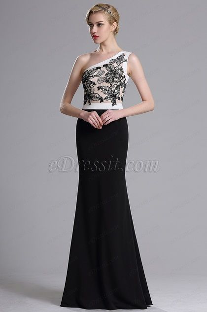 eDressit One Shoulder Floral Embroidery Prom Evening Dress (00164000)
