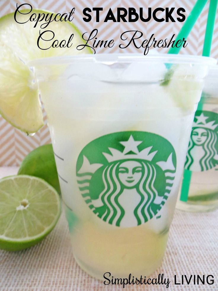 copycat Starbucks cool lime refresher Ingredients 3 cups water 2 cups freshly squeezed lime juice ¼ cup fresh mint leaves, finely chopped ¾ cup cucumber, peeled and chopped ¾ cup sugar or sweetener Limes for garnish (optional)