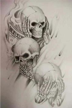 See no evil, Hear no evil, Speak no evil skull tattoo design (3)