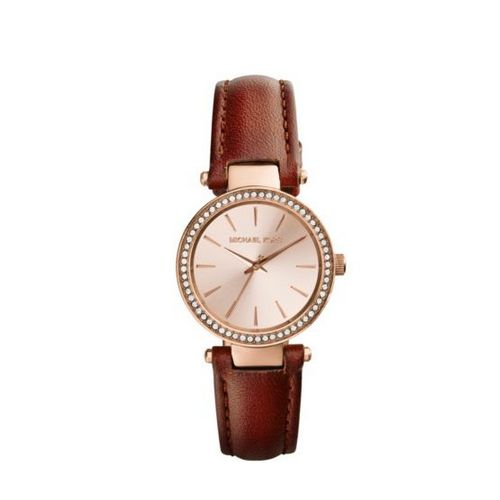 Cheap MK Outlet Online & MICHAEL KORS Petite Darci Rose Gold-Tone Leather Watch