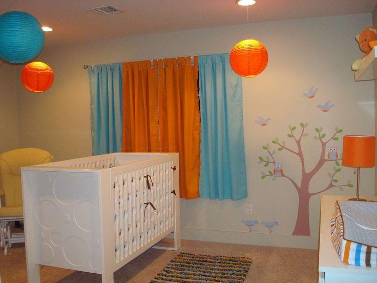 849 Aqua Orange Nursery Tree Wall Decal 1024x768