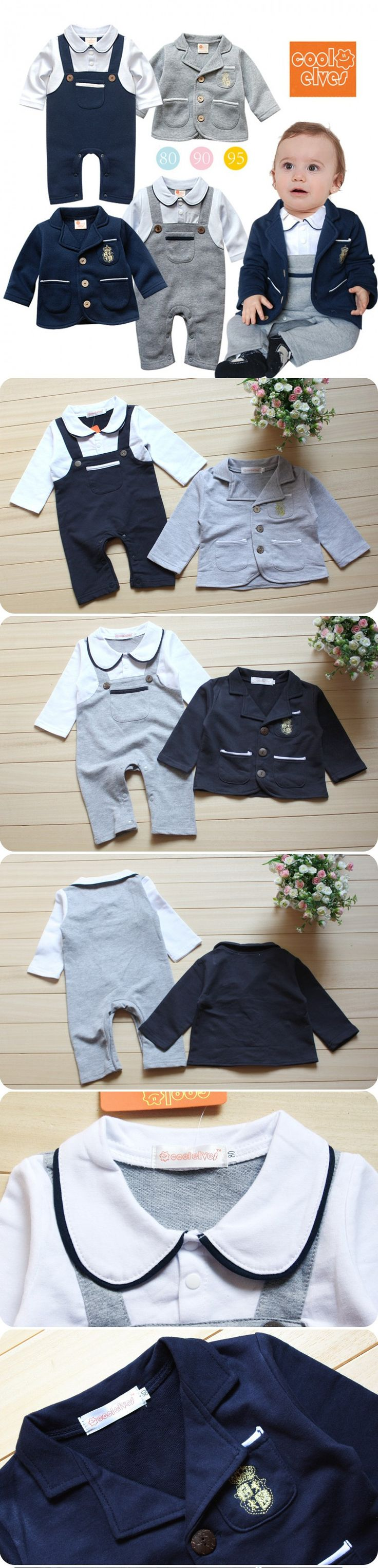 Baby Boys Clothing Set Spring Autumn Baby Romper + Jacket Coat 2pcs Suit Infant Boys Clothes Newborn Toddler Baby Boys Outfit