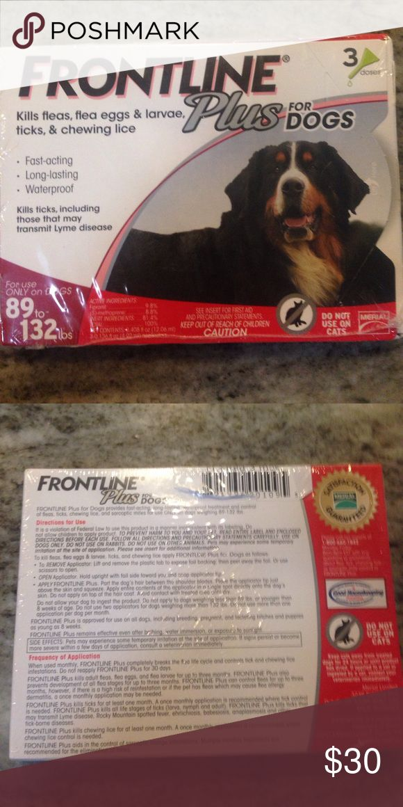 FrontLine Plus for Dogs 89-132lbs Frontline Plus for dogs, unopened 3 dose box. Brand new and from the veterinarian. Topical flea and tick product for dogs 89-132 pounds. Other