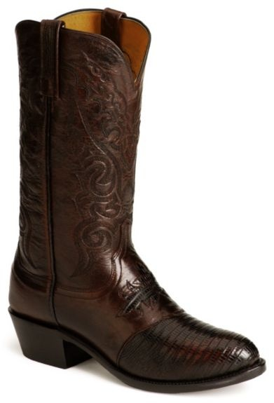 Lucchese Handcrafted Diego Lizard Inlay Western Boots - Medium Toe available at #Sheplers