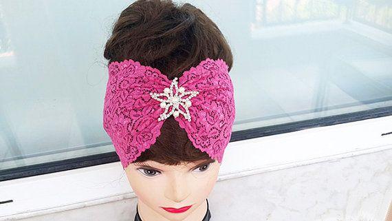 Fuchsia Rose  Elastic Lace headband Rhinestone Button by nezoshop