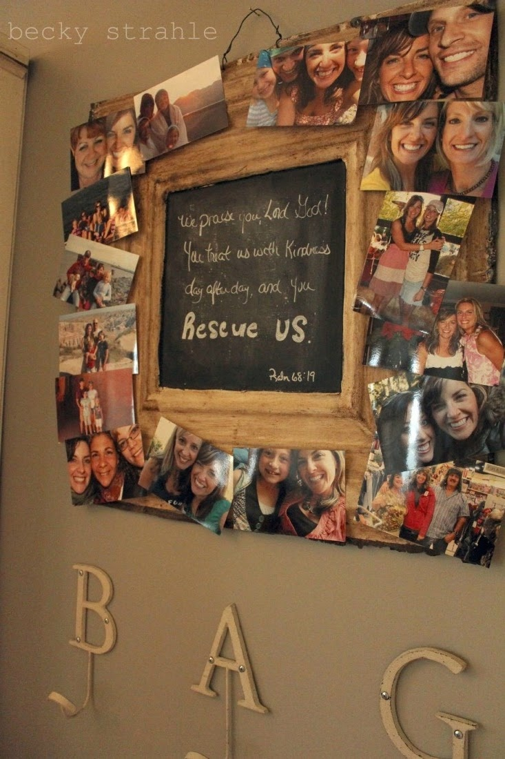 Blackboard center praises God;  cork-board perimeter radiates with family pics grateful for His love in this household. ...... I Want One in my House!!!!