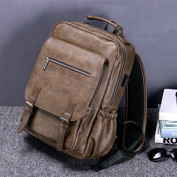Business Computer Bag,large-capacity Travel Bag Mens Backpack-brown